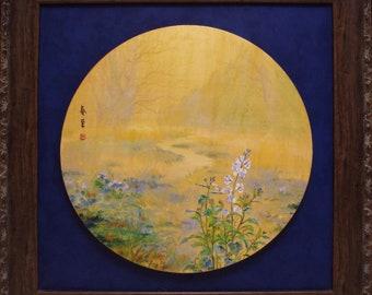 Original unique oil painting Spring Arrival Forbidden City flowers blossom