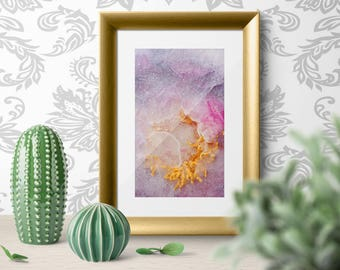 Peony Flower Abstract Fine Art Photography Print on WaterColor Paper. Botanical Fine Art Photography. Pink Violet Fine Art Wall Print