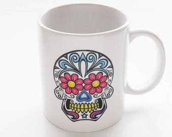 Sugar Skull Coffee Mug stocking stuffer men coworker Halloween party favor wedding shower gift bride groom day of the dead holiday goth geek