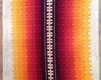 Handmade woven wool red orange yellow rug / mat / wall decore