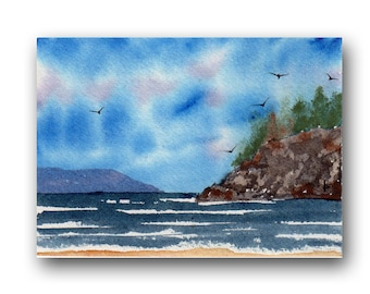 ACEO watercolor COAST  original painting SFA miniature dollhouse mini seascape