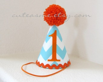 Party Hat Cake Smash Outfit First Birthday Any Number Aqua Chevron Photoshoot Diaper Cover Photoprop Bloomers