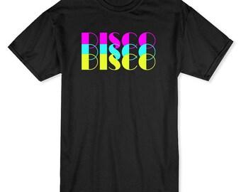 Triple Multicolor Disco Medium Front Text Men's T-shirt