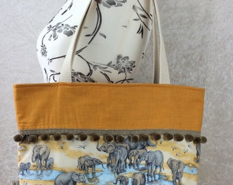 Handmade Beach tote shoulder bag Pom Pom shopping day bag purse fabric shopper  Elephants at the watering hole