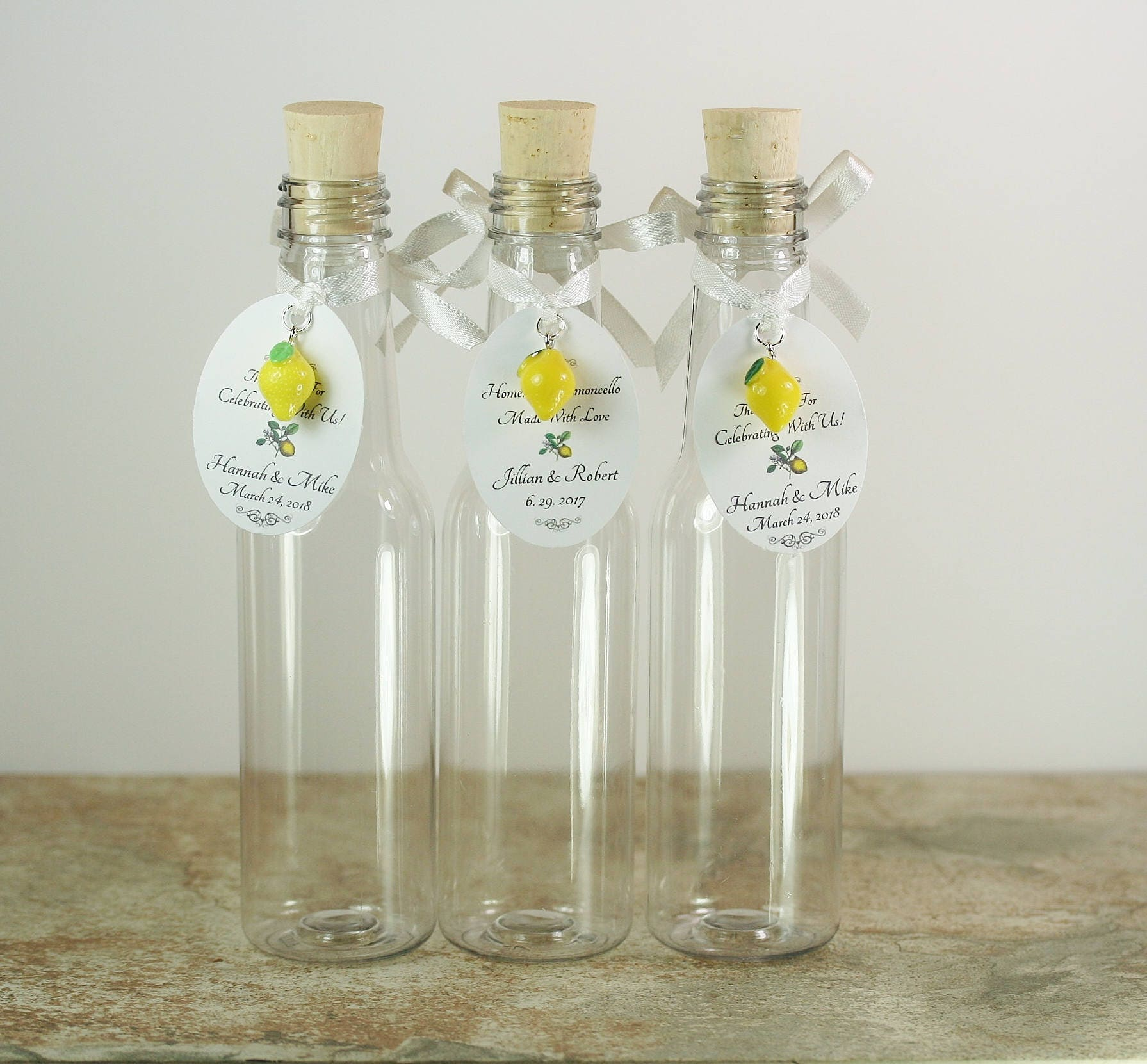 30 Limoncello 5oz Bottles Custom Tags Lemon Charms PET Plastic