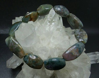 Agate Barrel Nugget Beaded Stretch Bracelet.
