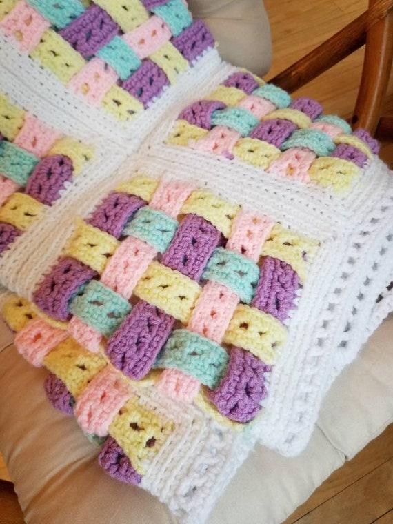 Pastell Gitter Korb Muster häkeln afghanischen handgemachte