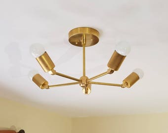 FREE Shipping - Modern Chandelier Five Arm Brass Finish 45 Degree Angle Square Cups.
