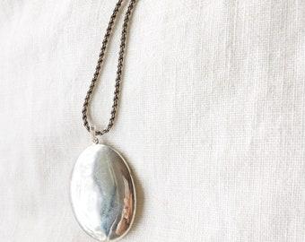 Large Vintage Blank Sterling Silver Oval Locket