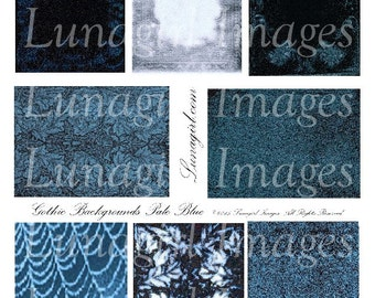 BLUE GOTHIC Backgrounds Digital Collage Sheet, aTC vintage images Victorian frames fabric, Dark spooky Steampunk ephemera printable DOWNLOAD