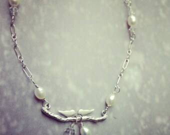 Love birds beaded bracelet, Beadwork, bridal bracelet, wedding jewelry, love birds pearl crystals sterling silver bracelet