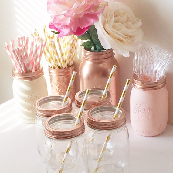 Mason Jar Glasses in Rose Gold