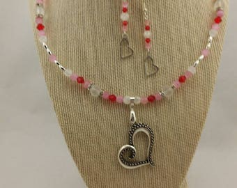 Pink, white and red heart necklace and earrings set