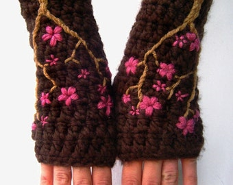 Womens Wool Fingerless Gloves with Cherry Blossom Design, Arm Warmers, Texting Gloves, Sakura, Pink, Brown, Wool Gloves - MADE TO ORDER