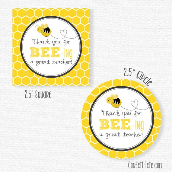 Back To School Tags BEEing A Great Teacher Gift Appreciation Printable INSTANT DOWNLOAD