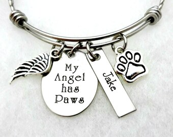 My Angel Has Paws -  Pet Memorial Remembrance Bracelet or Necklace - Custom Personalized Pet Necklace - Memorial Bracelet for Pets