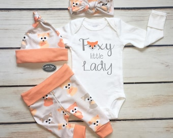 Baby Girl Coming Home Outfit, Baby Fox Print with Melon Trim, Leggings, Hat and Headband, White Bodysuit, Hospital Outfit, Foxy Little Lady