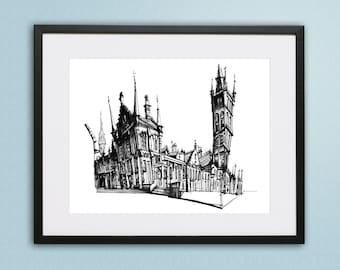 Glasgow University, Glasgow Print, Glasgow Art, Scottish Art, Scottish Gift, Glasgow Illustration, Scottish Gift