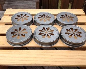 READY TO SHIP: Set of 25 Pewter Daisy Mason Jar Lids