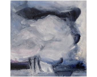 Small abstract painting, abstract sky, cloud art, original art on canvas, grey art, grey decor, art gift, free shipping