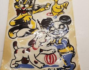 Grandmother's Kiddy Appliques 1940s Cloth Appliques  Redi Kut Appliques NOS NIP Animal Appliques RARE Appliques