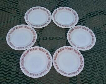 Set of 6 Pyrex Copper Filigree Tableware Saucers