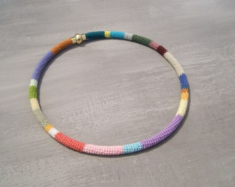 Multicolored Crochet Tube Necklet 17 in Choker Magnetic Closure, 25 colors rope style necklace