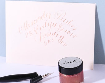 Rose Gold Calligraphy  Ink / Modern Calligraphy Ink/ Dip Pen Ink/ Copperplate Ink/ Pointed Pen Ink/ Shimmer Ink/ Modern Calligraphy Supplies