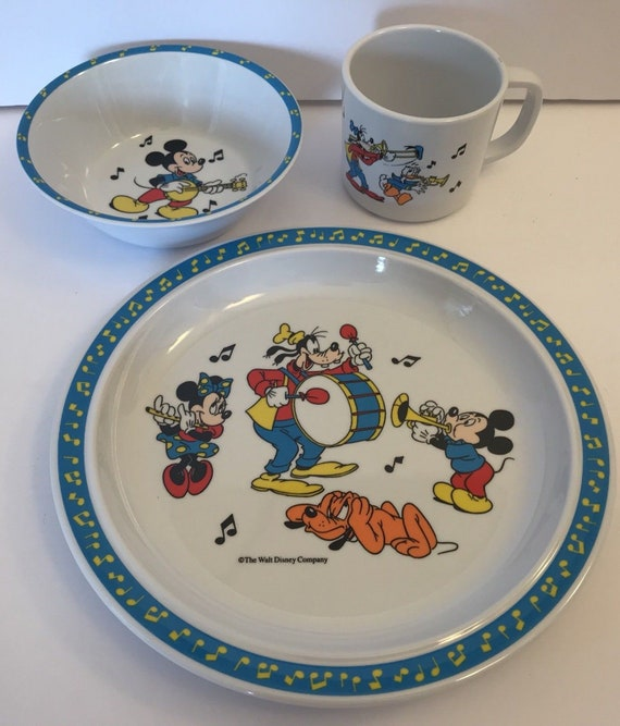 & Selandia 3 Piece Disney Dish Set Plate Bowl Cup Kids Mickey