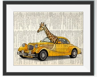 Illustration de voiture girafe, dictionnaire Art d'impression, photo de dictionnaire papier, dessin d'Art mural, peinture, Art animaux de compagnie, Decor enfants