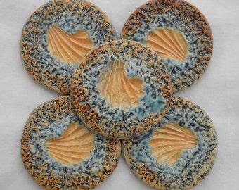 Handmade Orange Shell Tile Set Hand Painted