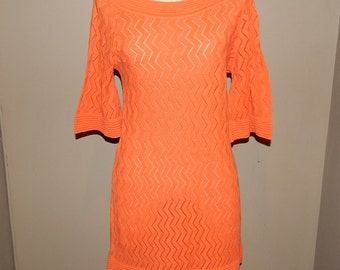 Charming Orange Knit Dress Bust up to 36 Size 10 or Size 12