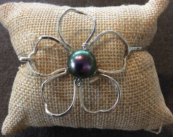 Plumeria bangle sterling silver