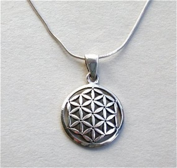 Flower of life pendant chain sterling silver necklace mozeypictures Gallery