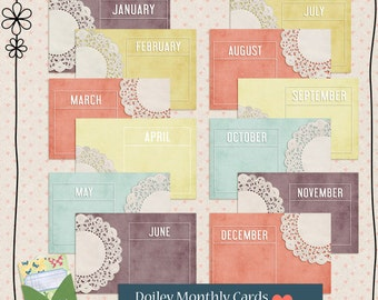 Doily 4x6 Monthly Calendar Cards