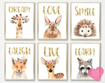 Baby animal prints, Nursery decor, Nursery wall art, Nursery animals, PRINTABLE art, Wildlife nursery, Animal print, Nature nursery, Nursery
