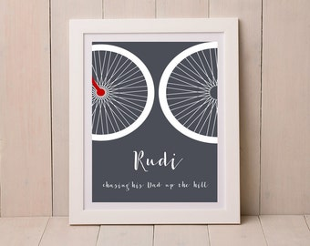 Personalised Bicycle Print, gift for cyclist, wall art