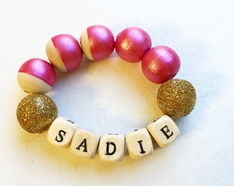 Personalized bracelet, girls personalized bracelet, party favors, girls gift, hand painted wood beads