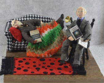 Sigmund Freud, Carl Jung, Diorama Scene, Psychology Art, Gift for Psychologist, Unique Handmade, Psychiatrist Gift