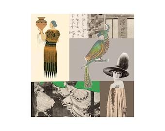 Nouveau 1. Open Edition Print. Vintage Theme.