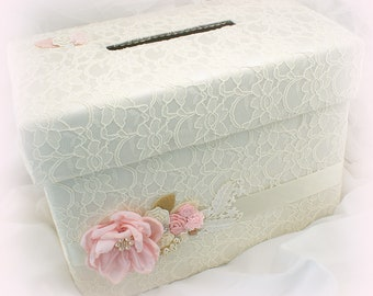 Wedding Money Box Pink Ivory Gold Card Holder Box Bridal Invitation Box Vintage Style