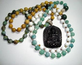 MALA Bead Necklace, Black Buddha Guru Bead, Agate and Jade Gemstones, Greens, Gold and White Beads, 108 Beads, Yoga, Meditation Beads