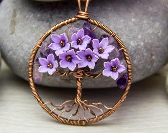 Purple necklace Tree-Of-Life Necklace Dark purple necklace Copper Wire Wrapped Pendant Copper Jewelry Amethyst Necklace Amethyst Pendant F3