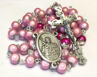 St. Agatha Breast Cancer Catholic Handmade Rosary in Pink Wonder Beads