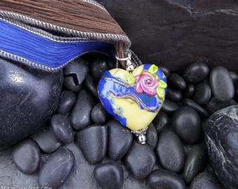 Handmade Italian Glass Heart with Flower Pendant on Hand dyed Silk Necklace