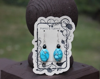 Mosaic Turquoise & Black Onyx SS Earrings