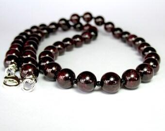 Mens Garnet Necklace, Mens Beaded Necklace, Mens Silver Necklace, Gemstone Necklace, Sterling Silver Garnet Necklace, Beaded Jewellery