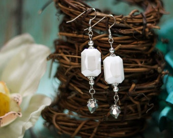 White Faceted Crystal Rectangle Beaded Dangle Earrings- Bridal Jewelry