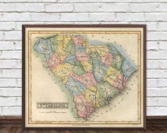 South Carolina map - Old map of South Carolina - Wall map - Premium giclee print