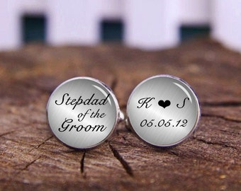 Stepdad Of The Bride, Custom Stepfather Cuff Links, Tie Clips, Custom Date, Name, Initials, Personalized Wedding Cuff Links, Stepdad Gifts